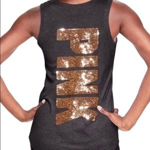 Victoria's Secret Pink Gold Bling Muscle Tank